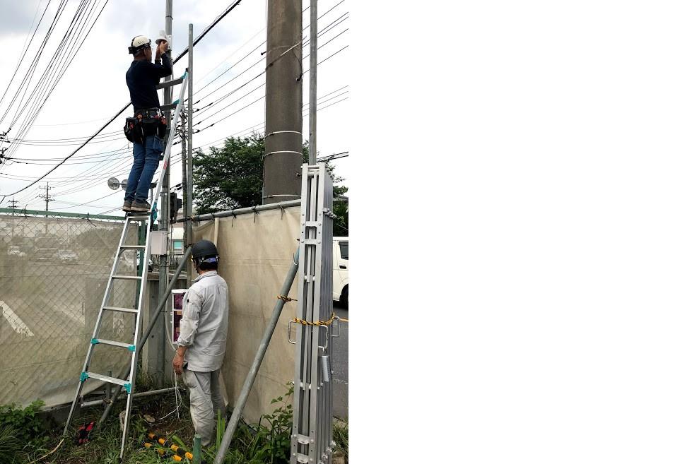 工場建築現場への防犯機器設置(トリップワイヤー技術)